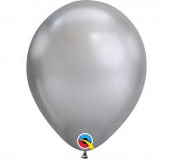 100 Balões Prateado Chrome 7''