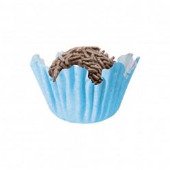 100 Mini Cápsulas Brigadeiro Recortado Azul Bebé