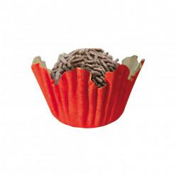 100 Mini Cápsulas Brigadeiro Recortado Vermelho