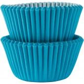 100 Mini Forminhas Azul Cupcake 30mm