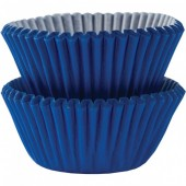 100 Mini Forminhas Azul Royal Cupcake 30mm