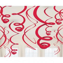12 Espirais Decorativas Vermelhas