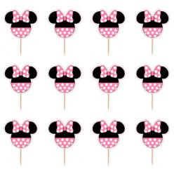 12 Mini Toppers Minnie Pink