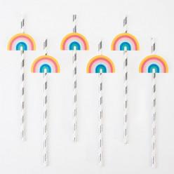 12 Palhinhas Papel Rainbow