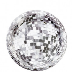 12 Pratos Bola Disco Glitter 18cm