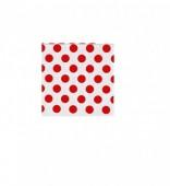 16 Guardanapos  Branco c/ bolas Vermelhas 25 cm