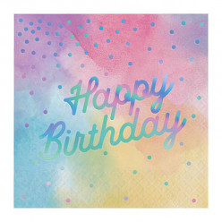 16 Guardanapos Iridescentes Happy Birthday