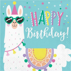 16 Guardanapos Llama Party Happy Birthday