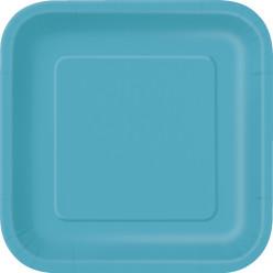 16 Pratos Azul Caribe Quadrados 17cm