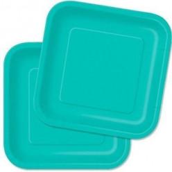 16 Pratos Azul Turquesa Quadrados 18cm