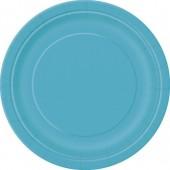 16 Pratos Azul turquesa redondos 22cm