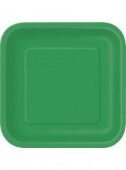 16 Pratos Verdes Quadrados 18cm