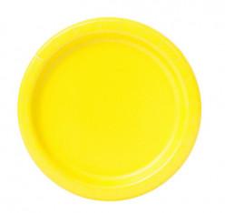 20 Pratos Amarelos Neon 17 cm