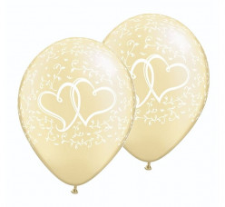 25 Balões Latex Marfim Corações 11