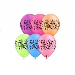 "25 Balões Latex Notas Musicais Neon 11"""