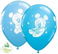 "25 Balões Mickey Bebé Azul Sortidos 11"""
