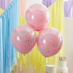 3 Baloes Confetti Rosa Pastel 45cm