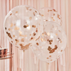 3 Baloes Confetti Rose Gold 55cm