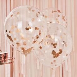 3 Baloes Confetti Rose Gold 55cm