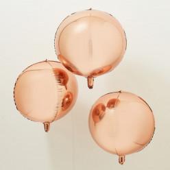 3 Balões Orb Rosa Dourado 56cm