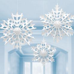 3 Decorações Papel Flocos de Neve