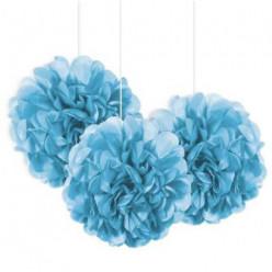 3 Mini Bolas Pom Pom Decorativas Azul Claro