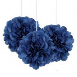 3 Mini Bolas Pom Pom Decorativas Azul