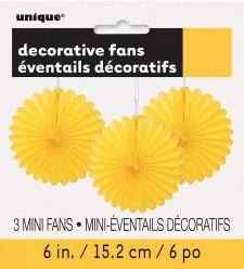 3 Mini Flor de Papel Decorativa 6 Amarela