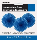 3 Mini Flor de Papel Decorativa 6 Azul Royal