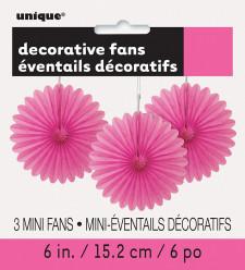 3 Mini-Flor de Papel Decorativa 6 Rosa