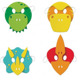 4 Máscaras Espuma Dinossauros