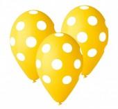 5 Balões látex amarelos com bolinhas