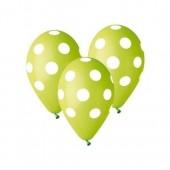5 Balões látex verdes com bolinhas
