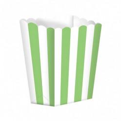 5 Caixas Pipocas Riscas Verde Claro