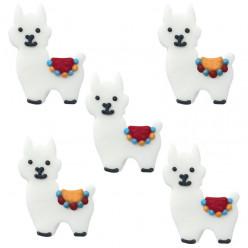5 Mini Decorações de Açúcar Llamas