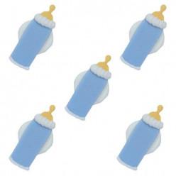 5 Mini Toppers Açúcar Biberons Azuis 3cm