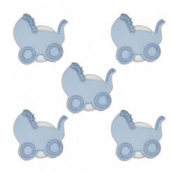 5 Mini Toppers Açúcar Carrinho Bebé Azul 3cm