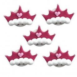 5 Mini Toppers Açúcar Coroa Princesa 3cm