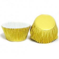 50 Cápsulas Cupcake Douradas Metalizadas
