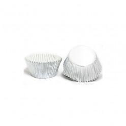 50 Cápsulas Cupcake Prateadas Metalizadas