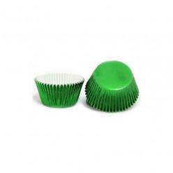 50 Cápsulas Cupcake Verdes Metalizadas