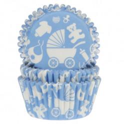 50 Cápsulas Cupcakes Bebé Azul Claro