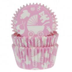 50 Cápsulas Cupcakes Bebé Rosa Claro