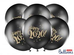 6 Balões Latex Happy 2020 Pretos