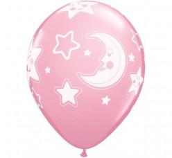 6 Balões Latex Lua e Estrela Rosa