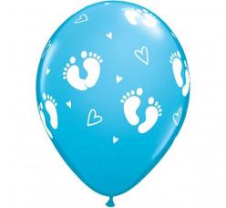 6 Balões Latex Pezinhos e Corações Azuis