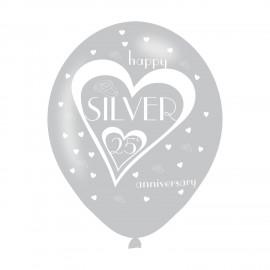 6 Balões Prateados Latex – Bodas de Prata