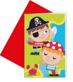 6 convites de festa Piratas Caça ao Tesouro
