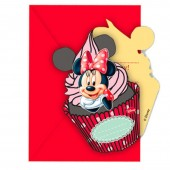 6 Convites para festa Minnie Disney Cafe