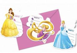 6 Convites Princesas Disney Heart Strong